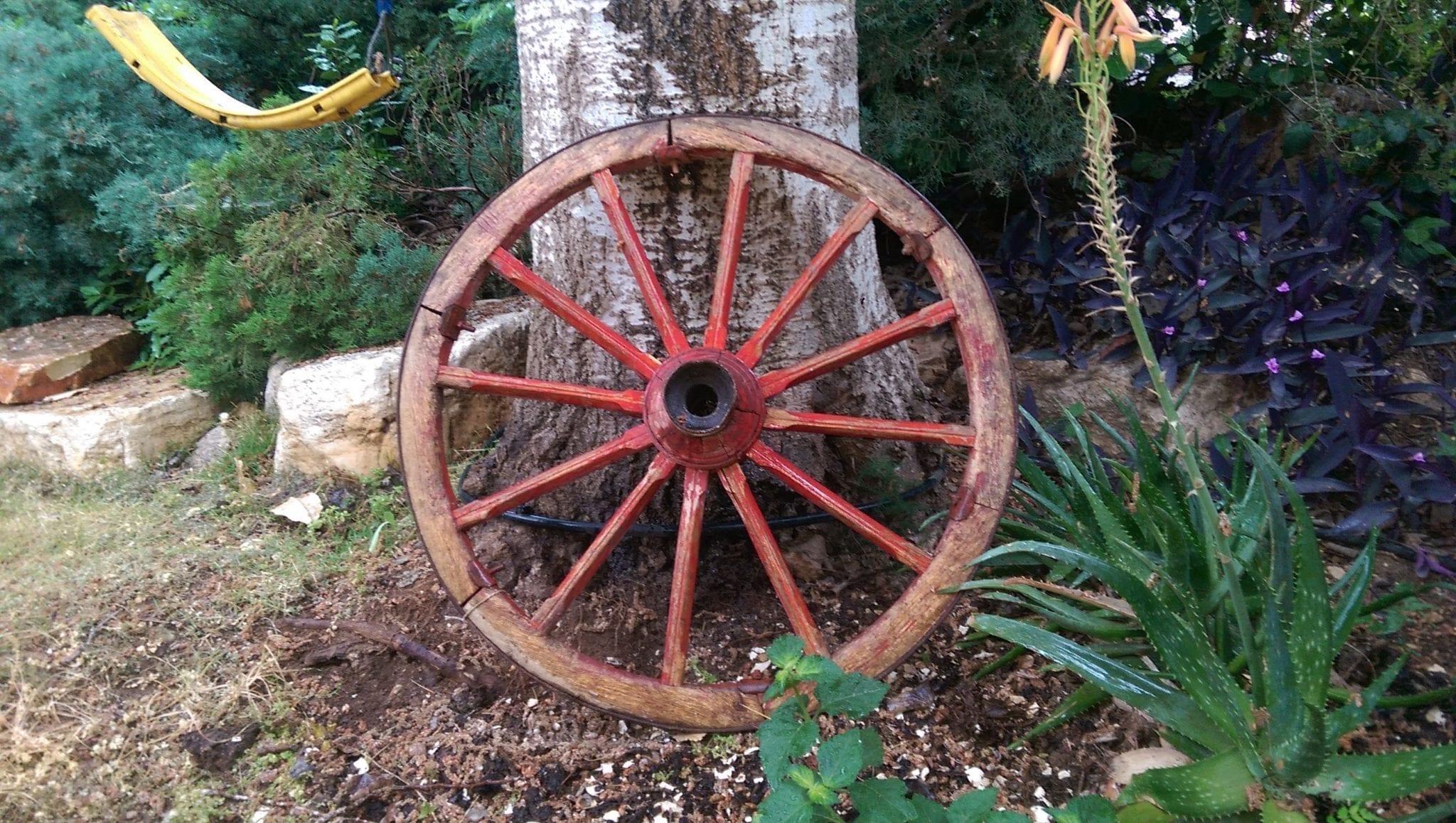 גלגל כרכרה לגינה